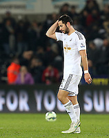 Monday 16 March 2015<br /> Pictured: Swansea's Jordi Amat leaves the field at full-time.<br /> Re: Barclay's Premier League, Swansea City FC v Liverpool at the Liberty Stadium, south Wales, UK.