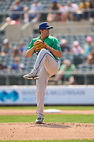 Hartford Yard Goats pitcher Cole Stringer (18) during a game against the Somerset Patriots on September 12, 2021 at TD Bank Ballpark in Bridgewater, New Jersey.  (Mike Janes/Four Seam Images)