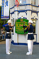 Dressed in full regalia, the Royal Guard performs its event each evening for tourists at the King's Village near Waikiki Beach, Oahu.
