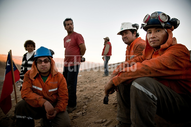 27 Ago 2010 Copiapo Chile. Workers from the rescue squad. Relatives, friends and rescue team around the mine where 33 miners are trapped in a collapsed tunnel 700 meters under the ground in North of Chile