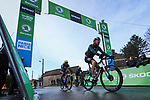 Race leader Yellow Jersey Maximilian Schachmann (GER) Bora-Hansgrohe takes bonus seconds at the intermediate sprint in Puiselet during Stage 2 of the 78th edition of Paris-Nice 2020, running 166.5km form Chevreuse to Chalette-sur-Loing, France. 9th March 2020.<br /> Picture: ASO/Fabien Boukla | Cyclefile<br /> All photos usage must carry mandatory copyright credit (© Cyclefile | ASO/Fabien Boukla)