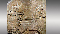 Picture & image of Hittite relief sculpted orthostat stone panel of Long Wall Limestone, Karkamıs, (Kargamıs), Carchemish (Karkemish), 900 - 700 B.C. Anatolian Civilisations Museum, Ankara, Turkey<br /> <br /> Chariot. One of the two figures in the chariot holds the horse's headstall while the other throws arrows. There is a naked enemy with an arrow in his hip lying face down under the horse's feet It is thought that this figure is depicted smaller than the other figures since it is an enemy soldier. The lower part of the orthostat is decorated with braiding motifs. <br /> <br /> On a gray background.