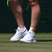 A close-up of Simona Halep's (ROU) heavily bandaged ankle during her match against Aliaksandra Sasnovich (BLR) in their Ladies' Singles First Round match<br /> <br /> Photographer Rob Newell/CameraSport<br /> <br /> Wimbledon Lawn Tennis Championships - Day 1 - Monday 1st July 2019 -  All England Lawn Tennis and Croquet Club - Wimbledon - London - England<br /> <br /> World Copyright © 2019 CameraSport. All rights reserved. 43 Linden Ave. Countesthorpe. Leicester. England. LE8 5PG - Tel: +44 (0) 116 277 4147 - admin@camerasport.com - www.camerasport.com