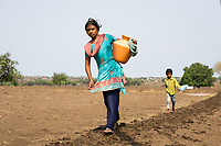 A young woman carries a pot full of water through dried up fields outside the village of Sayyad Ankulga. Only two bore wells now operate near the village, the closest one being over 1 kilometre away from the village centre, forcing villagers to walk through the intense heat multiple times a day to collect water