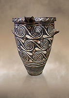 Luxury Minoan Kamares Ware pithos storage pot with incised swirl  decorations , Phaistos 1900-1700 BC; Heraklion Archaeological  Museum.<br /> <br /> This style of pottery is named afetr Kamares cave where this style of pottery was first found
