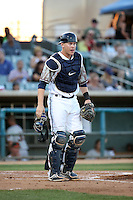 Trent Woodward (36) of the Lancaster JetHawks in the field at catcher during a game against the San Jose Giants at The Hanger on August 13, 2016 in Lancaster, California. Lancaster defeated San Jose, 16-2. (Larry Goren/Four Seam Images)