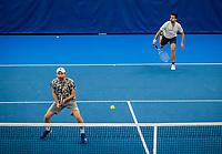 Amstelveen, Netherlands, 18  December, 2020, National Tennis Center, NTC, NK Indoor, National  Indoor Tennis Championships, Doubles   :  Sander Arends (NED) and<br /> Matwe Middelkoop (NED) (L)<br /> Photo: Henk Koster/tennisimages.com