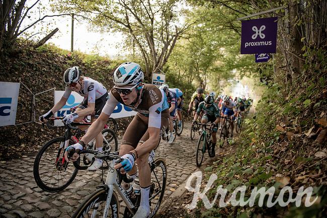 Lawrence Naesen (BEL/AG2R-LaMondiale) up the Koppenberg<br /> <br /> 104th Ronde van Vlaanderen 2020 (1.UWT)<br /> 1 day race from Antwerpen to Oudenaarde (BEL/243km) <br /> <br /> ©kramon