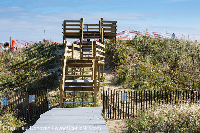 Viewing platform at Parker River National Wildlife Refuge on Plum Island, Massachusetts during the autumn months. Established in the 1940s, this refuge consists of over 4,000 acres, and because it is located along the Atlantic Flyway it provides a habitat for migratory birds.