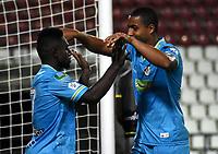 MONTERIA - COLOMBIA, 24-01-2021: Pablo Rojas de Jaguares de Cordoba F.C., celebra el gol anotado a Atletico Bucaramanga durante partido entre Jaguares de Cordoba F. C. y Atletico Bucaramanga de la fecha 2 por la Liga BetPlay DIMAYOR I 2021, en el estadio Jaraguay de Monteria de la ciudad de Monteria. / Pablo Rojas of Jaguares de Cordoba F.C., celebrates a scored goal to Atletico Bucaramanga, during a match between Jaguares de Cordoba F. C. and Atletico Bucaramanga, of the 2nd date for the BetPlay DIMAYOR I 2021 League at Jaraguay de Monteria Stadium in Monteria city. Photo: VizzorImage / Andres Lopez / Cont.