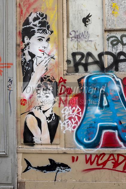 France, Paris, 75011, Graffiti  rue de la Folie Méricourt // France, Paris, Graffiti  rue de la Folie Méricourt