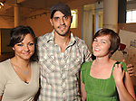 """From left: Mariam Khalili, Kevin Peterson and Shannon Piehl at the """"Strung Out"""" backyard barbecue at the Winter Street Studios Saturday July 24,2010.(Dave Rossman/For the Chronicle)"""