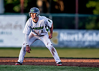 29 May 2021: Vermont Lake Monsters infielder Noah Granet, from Scranton, PA, on the base-path during a game against the Norwich Sea Unicorns at Centennial Field in Burlington, Vermont. The Lake Monsters defeated the Unicorns 6-3 in their FCBL Home Opener, the first home game played at Centennial Field post-Covid-19 pandemic. Mandatory Credit: Ed Wolfstein Photo *** RAW (NEF) Image File Available ***