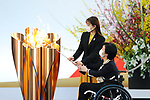 Satomi Ishihara and Aki Taguchi participates in <br /> The Grand Start Ceremony for the Tokyo 2020 Olympic Torch Relay at Fukushima National Training Center J-Village on March 25, 2021, in Fukushima Prefecture, Japan.<br /> The Torch Relay will last 121 days and visit all of Japan's 47 prefectures. (Photo by Naoki Morita/AFLO SPORT)