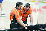 Spanish referees Carlos Francisco Peruga (l) and Martin Caballero during Liga Endesa ACB 1st Final match. June 13,2021. (ALTERPHOTOS/Acero)