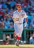 30 July 2017: Washington Nationals first baseman Ryan Zimmerman releases his bat after hitting his second home run of the game, a solo shot to right center in the 7th inning, against the Colorado Rockies at Nationals Park in Washington, DC. With the homer Zimmerman adds to his lead as Washington's all-time home run leader, having passed Frank Howard with his 238th career longball in the 3rd inning. The Rockies defeated the Nationals 10-6 in the second game of their 3-game weekend series. Mandatory Credit: Ed Wolfstein Photo *** RAW (NEF) Image File Available ***