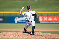 Mesa Solar Sox relief pitcher John Schreiber (36), of the Detroit Tigers organization, delivers a pitch during an Arizona Fall League game against the Peoria Javelinas at Sloan Park on October 24, 2018 in Mesa, Arizona. Mesa defeated Peoria 4-3. (Zachary Lucy/Four Seam Images)