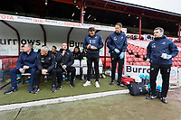 (L-R) Swansea City manager Steve Cooper, Assistant First Team Coach Mike Marsh, Goalkeeping Coach Martyn Margetson, David Tivey, Dr. Jez McCluskey, Club Doctor and Physiotherapist, Ritson Lloyd during the Sky Bet Championship match between Barnsley and Swansea City at Oakwell Stadium, Barnsley, England, UK. Saturday 19 October 2019