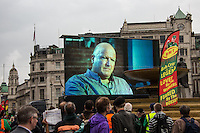 Bob Crow.<br /> <br /> London, 01/05/2014. Thousands of people marched in central London to celebrate the International Workers' Day dedicated this year to the two great leaders, Bob Crow (General Secretary & leader of the Rail Maritime and Transport Union, RMT) and Tony Benn (Former Labour Cabinet Minister, Socialist and leading left-wing and anti-war campaigner), both passed away in March 2014. The rally started in Clerkenwell Green and ended in Trafalgar Square where speakers gave speeches remembering the two late leaders, in defence of worker's rights, in protest against the coalition Government spending cuts and policies, and in support and solidarity with the other demonstrations held around the world.