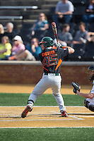 Carl Chester (45) of the Miami Hurricanes at bat against the Wake Forest Demon Deacons at Wake Forest Baseball Park on March 21, 2015 in Winston-Salem, North Carolina.  The Hurricanes defeated the Demon Deacons 12-7.  (Brian Westerholt/Four Seam Images)
