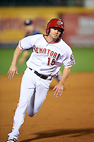 Harrisburg Senators left fielder Cutter Dykstra (15) running the bases during a game against the New Hampshire Fisher Cats on June 2, 2016 at FNB Field in Harrisburg, Pennsylvania.  New Hampshire defeated Harrisburg 2-1.  (Mike Janes/Four Seam Images)