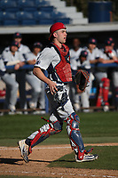 Carter Bins (29) of the Fresno State Bulldogs during a game against the Pepperdine Waves at Eddy D. Field Stadium on March 7, 2017 in Los Angeles, California. Pepperdine defeated Fresno State, 8-7. (Larry Goren/Four Seam Images)
