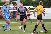 Andy Ackers of London Broncos celebrates after he scores his first try of the game to make the score 46-16 during the Kingstone Press Championship match between London Broncos and Sheffield Eagles at Castle Bar , West Ealing , England  on 9 July 2017. Photo by David Horn.