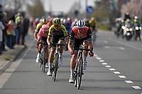 Jasper Stuyven (BEL/Trek Segafredo) attacking at the front<br /> <br /> 81st Gent-Wevelgem 'in Flanders Fields' 2019<br /> One day race (1.UWT) from Deinze to Wevelgem (BEL/251km)<br /> <br /> ©kramon