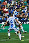 Leganes' Guido Marcelo Carrillo (l) and Juan Francisco Moreno (r) and Real Sociedad's Willian Jose Da Silva during La Liga match. August 24, 2018. (ALTERPHOTOS/A. Perez Meca)