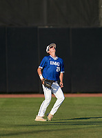 IMG Academy Ascenders outfielder Mac Moyer (25) settles under a fly ball during a game against the Montverde Academy Eagles on April 8, 2021 at IMG Academy in Bradenton, Florida.  (Mike Janes/Four Seam Images)