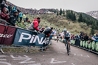 Chris Froome (GBR/SKY) leading the race by 6 seconds up the infamous Monte Zoncolan (1735m/11%/10km) (and on his way to winning the stage)<br /> <br /> stage 14 San Vito al Tagliamento – Monte Zoncolan (186 km)<br /> 101th Giro d'Italia 2018