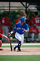GCL Blue Jays right fielder Warnel Valdez (16) follows through on a swing during a game against the GCL Phillies West on August 7, 2018 at Bobby Mattick Complex in Dunedin, Florida.  GCL Blue Jays defeated GCL Phillies West 11-5.  (Mike Janes/Four Seam Images)