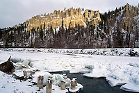 Hoodoos at Dutch Creek along Highway 93, near Fairmont Hot Springs, Canadian Rockies, BC, British Columbia, Canada, Winter