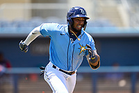 FCL Rays first baseman Stir Candelario (79) runs to first base during a game against the FCL Twins on July 20, 2021 at Charlotte Sports Park in Port Charlotte, Florida.  (Mike Janes/Four Seam Images)