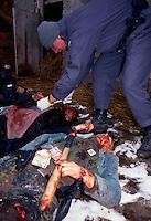 RUGOVO / KOSOVO - 29 GENNAIO 1999.NEL VILLAGGIO DI RUGOVO, NEI PRESSI DEL CONFINE ALBANESE, OPERAVA DA MESI UNA BANDA DI GUERRIGLIERI DELL'UCK. DURANTE UN RASTRELLAMENTO DELL'ESERCITO JUGOSLAVO, PERDONO LA VITA 24 UOMINI DI ETNIA ALBANESE E 3 SOLDATI GOVERNATIVI. PER I POCHI GIORNALISTI E MONITORS DELL'OSCE ERA CHIARO CHE SI TRATTASSE DI UNO SCONTRO A FUOCO TRA ESERCITO E GUERRIGLIA MA SUI GIORNALI DI MEZZO MONDO SI PARLO' DI 'ENNESIMA STRAGE DI CIVILI' GIUSTIFICANDO IL POSSIBILE INTERVENTO DELLA NATO CONTRO LA SERBIA DI MILOSEVIC..FOTO LIVIO SENIGALLIESI..RUGOVO / KOSOVO - 29 JANUARY 1999.IN THE LITTLE VILLAGE NEAR ALBANIAN BORDER, KLA GUERRILLA GROUP HAS BEEN ACTIVE FOR MONTHS. DURING A JUGOSLAV ARMY MOPPING UP OPERATION, 24 MEMBERS OF KLA HAVE BEEN KILLED TOGETHER WITH 3 JUGOSLAV SOLDIERS. FOR THE FEW JOURNALISTS PRESENT ON THE GROUND AND FOR THE OSCE MONITORS IT WAS CLEARLY A BATTLE AMONG ARMED GROUPS BUT ON THE LOCAL AND INT'L MEDIA WAS REPORTED 'ANOTHER MASSACRE OF CIVILIANS'JUSTIFYING POSSIBLE NATO INTERVENTION AGAINST SERBIA AND MILOSEVIC. .PROPAGANDA AND DISINFORMATION HAVE BEEN VERY ACTIVE DURING THE WAR IN KOSOVO..PHOTO LIVIO SENIGALLIESI