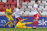 Alex Wall of Concord Rangers FC squeezes the ball in at the far post scores the second Goal and celebrates during Stevenage vs Concord Rangers , Emirates FA Cup Football at the Lamex Stadium on 7th November 2020