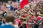Yannick Ferreira Carrasco of Atletico de Madrid celebrates  with the team's fans during the La Liga 2017-18 match between Atletico de Madrid and Sevilla FC at the Wanda Metropolitano on 23 September 2017 in Madrid, Spain. Photo by Diego Gonzalez / Power Sport Images