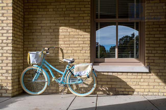 October 4, 2018; Bicycle parked outside the Main Building. (Photo by Barbara Johnston/University of Notre Dame)