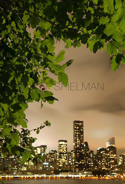 AVAILABLE FROM JEFF AS A FINE ART PRINT.<br /> <br /> A HORIZONTAL SIMILAR TO THIS PHOTO IS AVAILABLE FROM CORBIS FOR COMMERCIAL AND EDITORIAL LICENSING.  Please go to www.corbis.com and search for image # 42-27912371.<br /> <br /> Midtown Manhattan Skyline on a Overcast Night, Viewed Thru Trees, New York City, New York State, USA