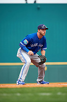 Toronto Blue Jays third baseman David Adams (7) during a Spring Training game against the Pittsburgh Pirates on March 3, 2016 at McKechnie Field in Bradenton, Florida.  Toronto defeated Pittsburgh 10-8.  (Mike Janes/Four Seam Images)