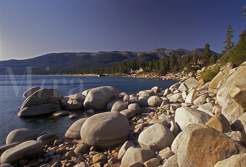 AJ3792, Lake Tahoe, lake, Sierra Nevada, Nevada, California, Rocky shoreline on Lake Tahoe at Incline Village in the state of Nevada.