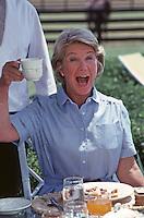 """Barbara Bel Geddes as Ellie Ewing on """"Dallas"""" Set, South Fork Ranch, Texas, 1980."""