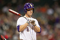 LSU Tigers shortstop Alex Bregman (8) at the plate during the NCAA baseball game against the Houston Cougars on March 6, 2015 at Minute Maid Park in Houston, Texas. LSU defeated Houston 4-2. (Andrew Woolley/Four Seam Images)