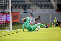 LOS ANGELES, CA - APRIL 17: Brad Stuver  #41 of Austin FC looking to save a ball during a game between Austin FC and Los Angeles FC at Banc of California Stadium on April 17, 2021 in Los Angeles, California.