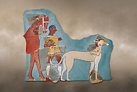 Mycenaean Fresco wall painting of a Mycanaean footman leading a horse & hunting dog,  Tiryns, Greece. 14th - 13th Century BC. Athens Archaeological Museum. Cat No 5878