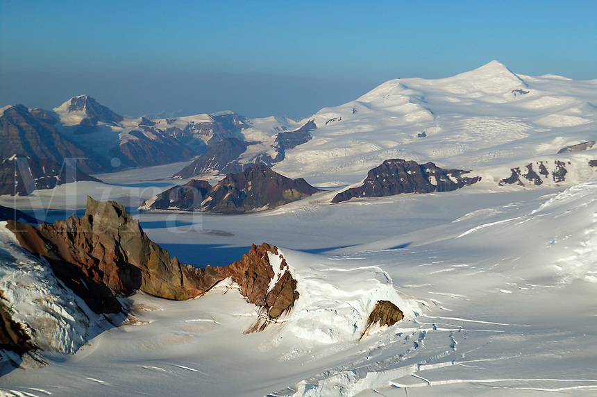 Mountains, snow and ice near Mount Blackburn (16,390 feet) in Wrangell Saint Elias National Park and Preserve, Alaska.