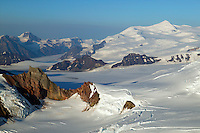 Mountains, snow and ice near Mount Blackburn (16,390 feet) in Wrangell Saint Elias National Park and Preserve, Alaska.