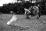 Firing the Fenny Poppers, Fenny Stratford, Buckinghamshire England 1973. November.