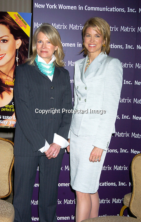 Candice Bergen and Paula Zahn..at the New York Women in Communications 2004 Matrix ..Awards Luncheon on April 19, 2004 at the Waldorf Astoria ..Hotel. Photo by Robin Platzer, Twin Images