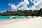 Seychelles, Island Mahe, Port Launay, Anse Souillac: Port Launay Marine National Park - motor boat